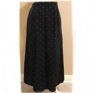 Talbots Black and Tan polka dot silk skirt